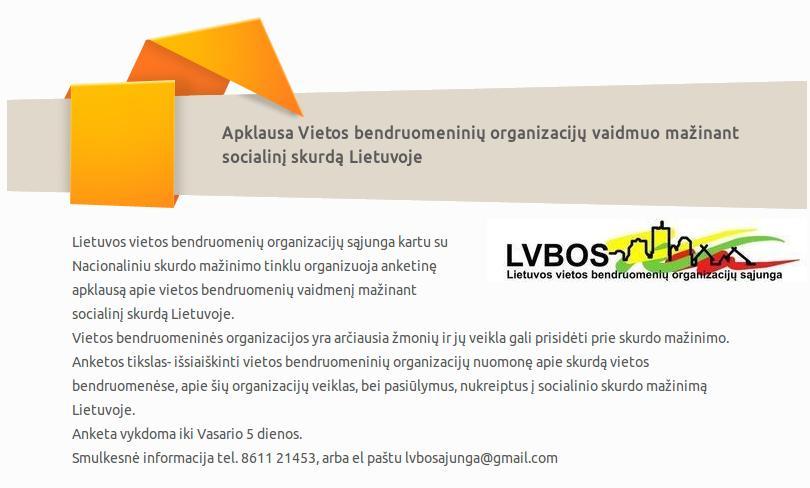 Kviečiame bendruomenines organizacijas dalyvauti apklausoje