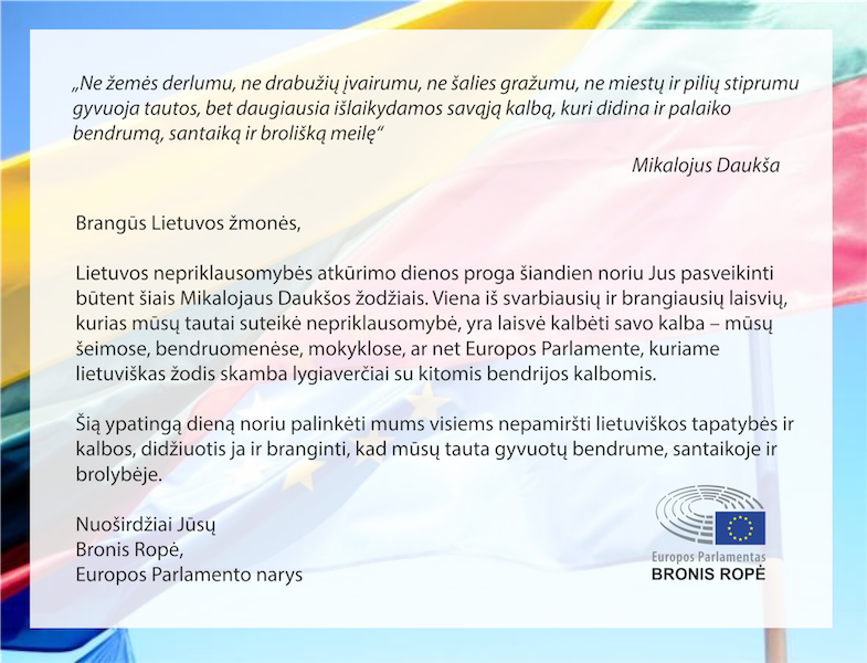Sveikiname su Lietuvos Nepriklausomybės atkūrimo diena