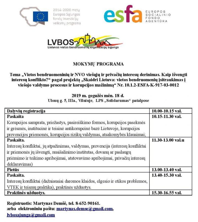 Viešųjų ir privačiųjų interesų derinimas vietos bendruomenėse mokymai Vilniuje