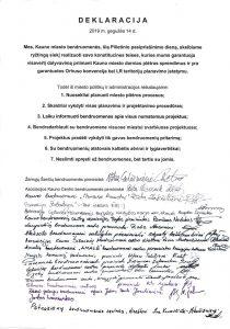 Kauno bendruomenės pateikė savivaldybei pateikė bendruomenių deklaraciją