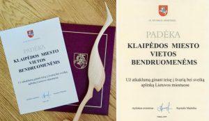Aplinkos ministro padėka Klaipėdos bendruomenėms