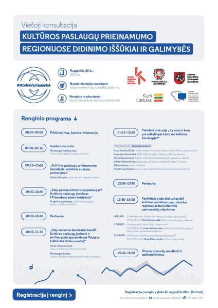 """""""Kultūros paslaugų prieinamumo regionuose didinimo iššūkiai ir galimybės""""."""