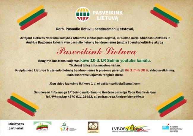 """Bendruomenių akcija """"Pasveikink Lietuvą"""""""